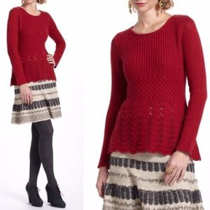 Anthropologie Guinevere Red Wool Sweater
